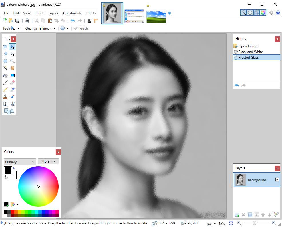 A screenshot of the main paint.net interface