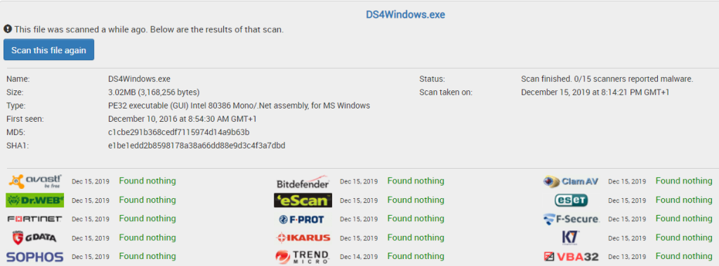 Screenshot of clean results from Jotti's malware scan