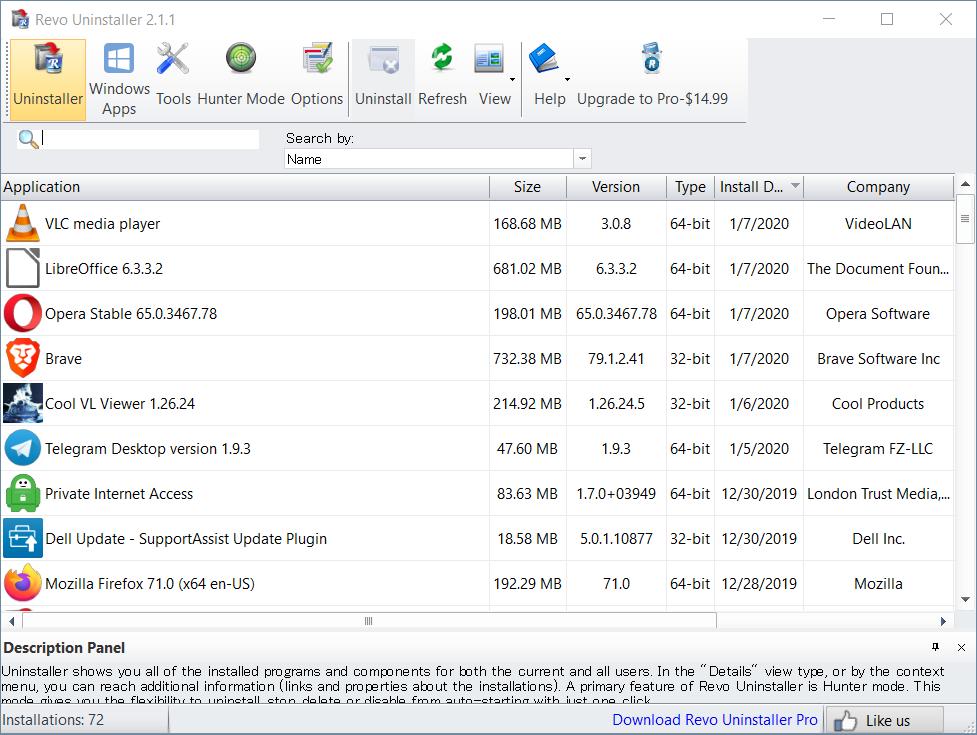 Screenshot of the main Revo Uninstaller free edition interface