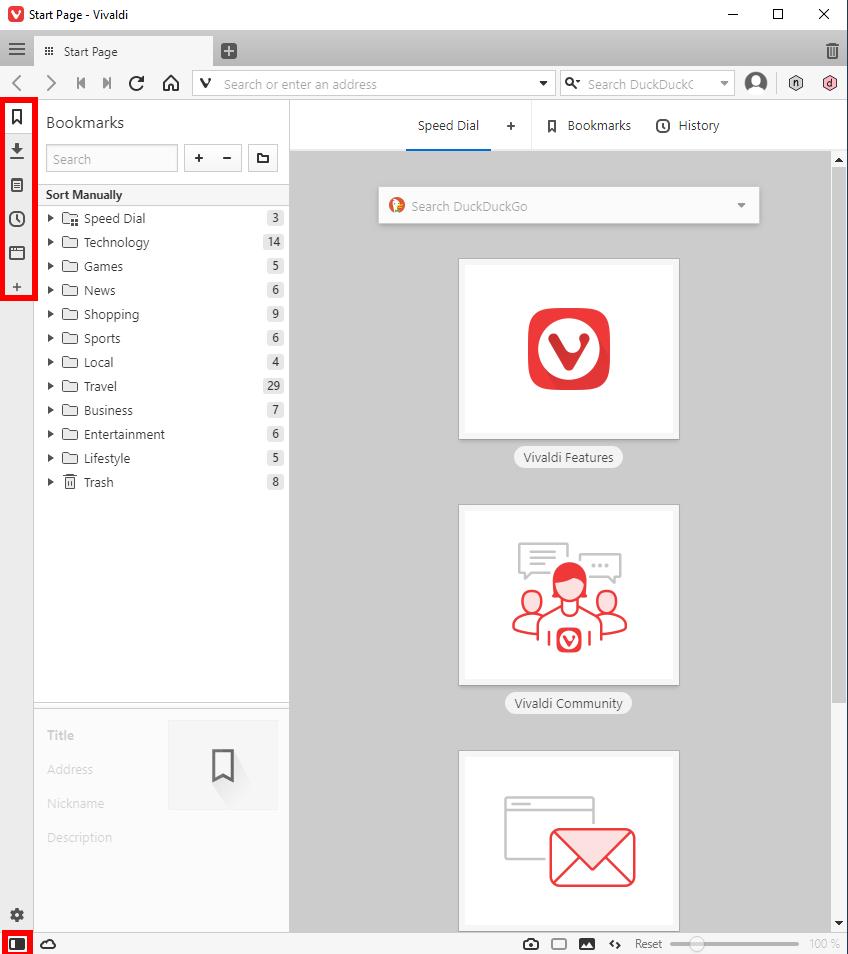 screenshot of vivaldi browser's side panel