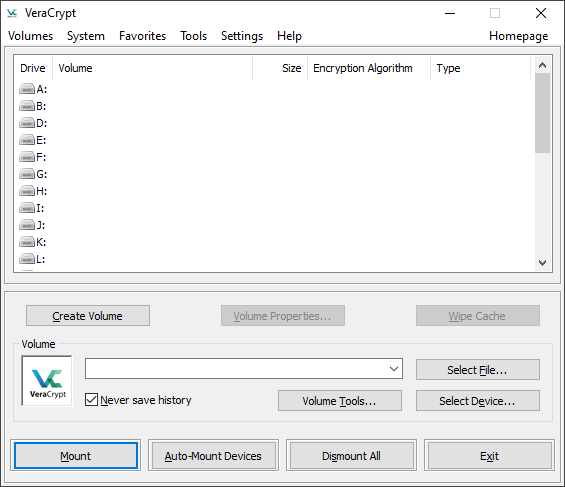 Screenshot of the Veracrypt Encryption Software interface