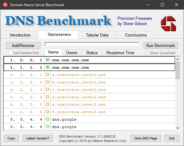 main interface of DNSBench