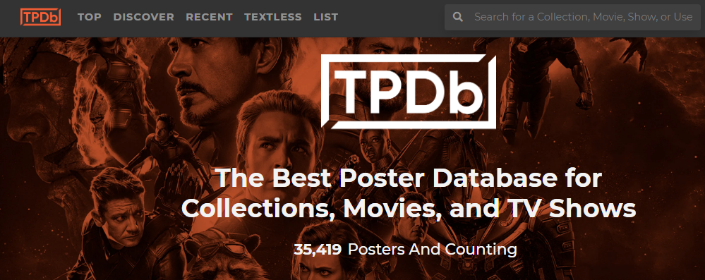 The frontpage of The Poster Database (TPDb) site.