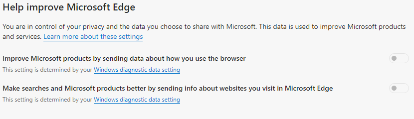 Telemetry options in the new Edge browser