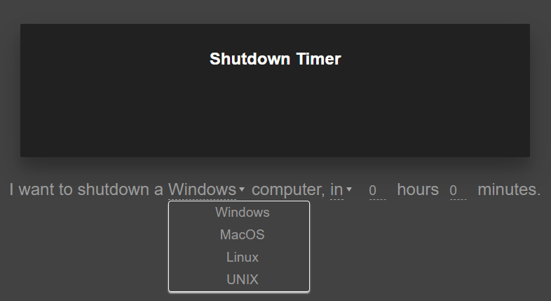The main page of the code generator for making a shutdown timer for windows, mac, and linux