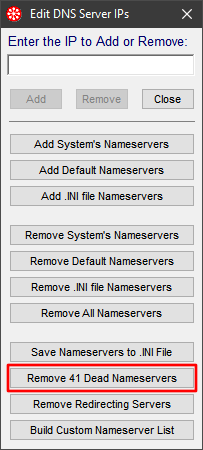 add/remove DNS servers window