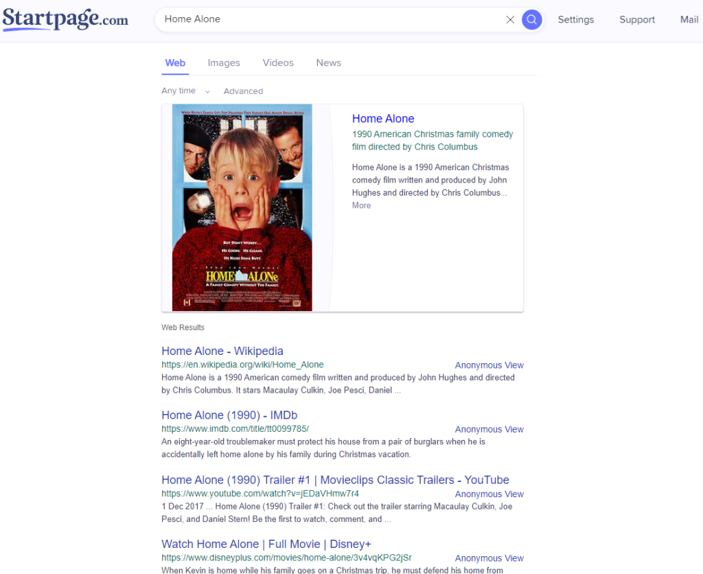Screenshot of a search for Home Alone done on Startpage