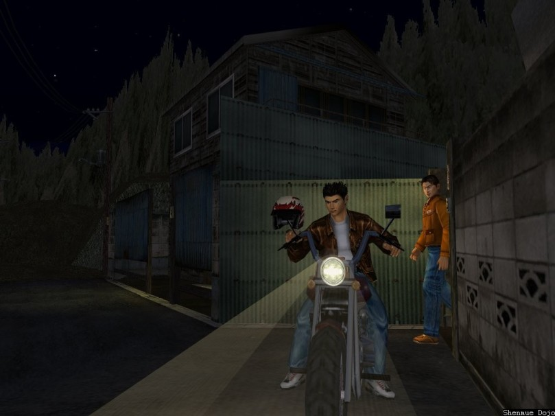 [Ryo on a motocycle]