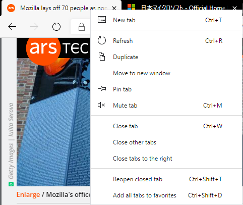 The right click tab options in Edge