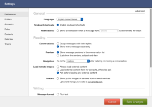 Fastmail simple settings