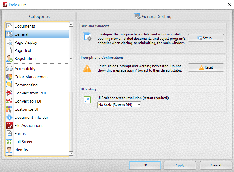 A screenshot of PDF-XChange Editor's preferences which are very nice.