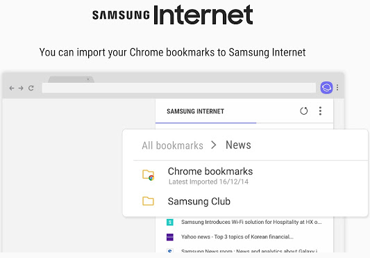 You can import Chrome bookmarks into Samsung Internet