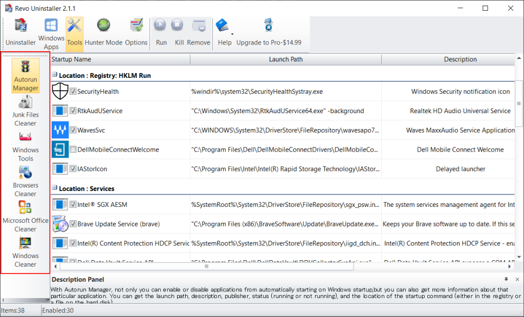 Screenshot of the additional tools included in Revo Uninstaller free edition
