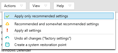 Recommended settings in ShutUp10