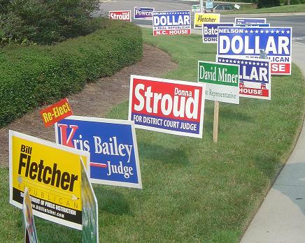 Political yard signs in the US