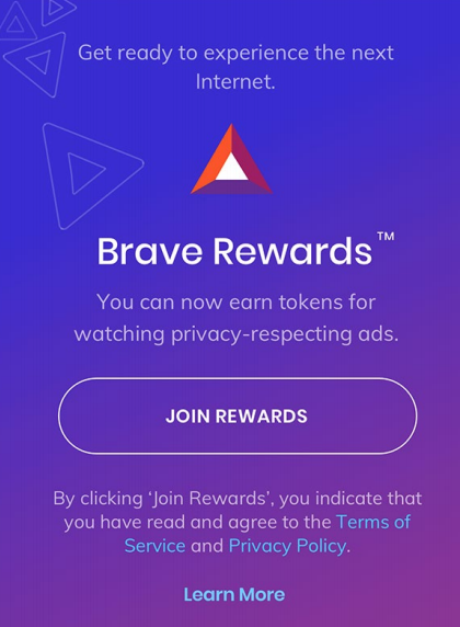 A screenshot of Brave rewards, but you can choose not to turn it on