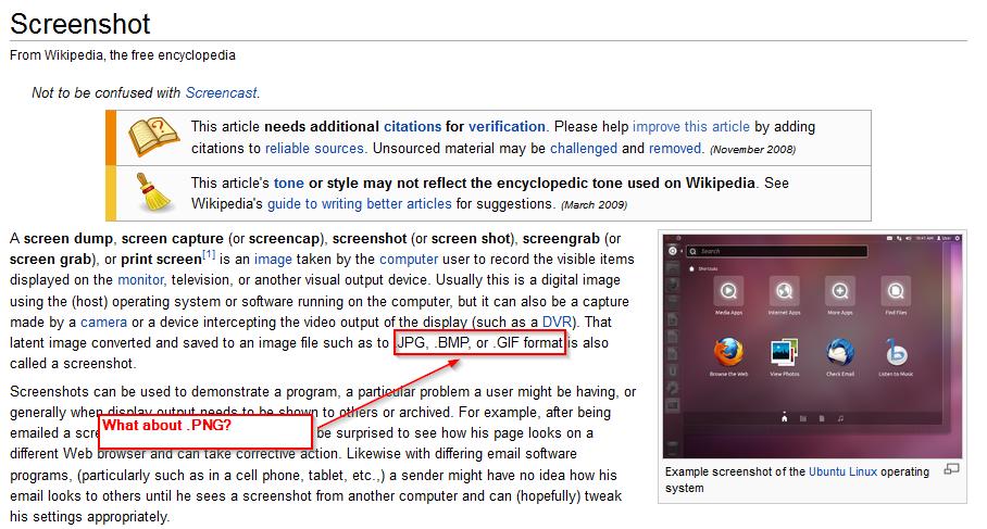 An example screenshot of annotations in Greenshot