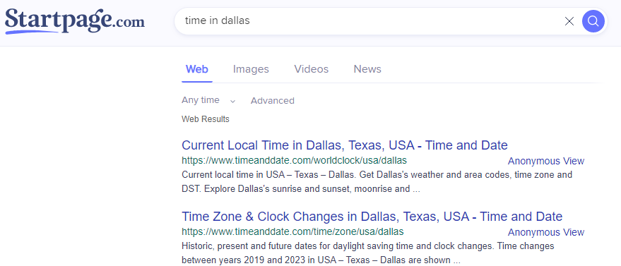 searching time on startpage